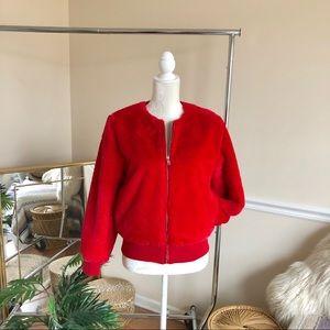 Miss Selfridge Red SOFT Faux Fur Bomber Jacket